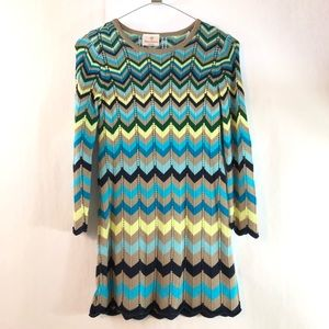 Hanna Andersson Blue Chevron Sweater Knit Dress
